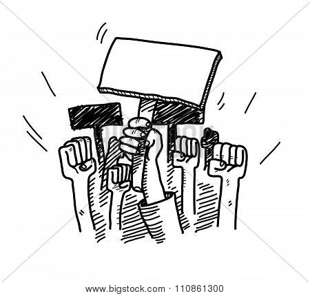 A hand drawn vector doodle illustration of people protesting about something, the blank protest board could be filled with text of your own choice. poster