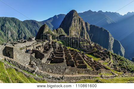Morning View At Machu Picchu, The Sacred City Of Incas, Peru