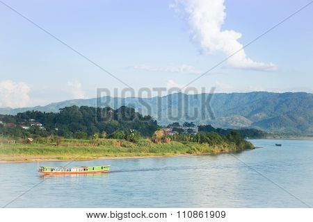 Shipping Lao Boat On The Mae Khong River