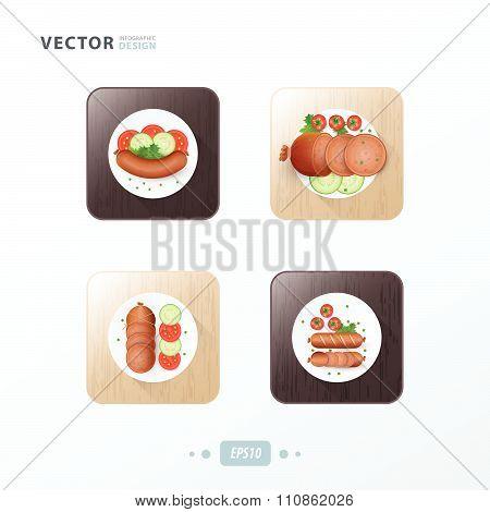Hot Dog Icons Design Food On Wood
