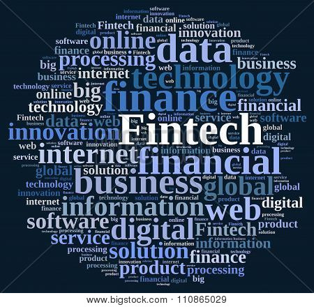 Illustration With The Word Fintech.