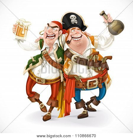 Two Drunk Pirates Are Drinking Holding Each Other Isolated On Wh