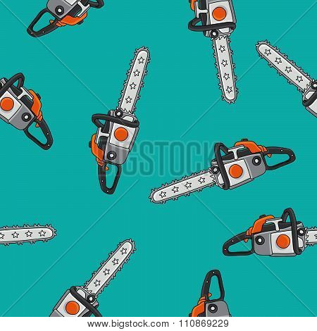 Seamless pattern of chain saws