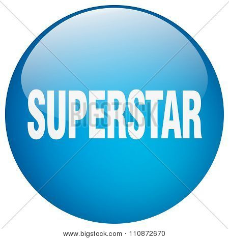 Superstar Blue Round Gel Isolated Push Button