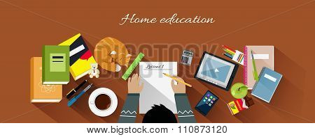 Home Education Flat Design Concept