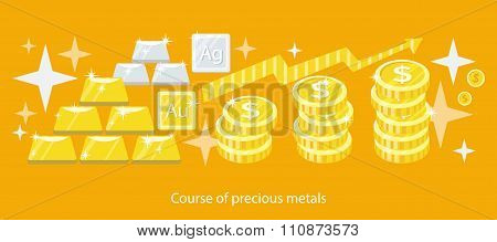Course of Precious Metals Flat Design