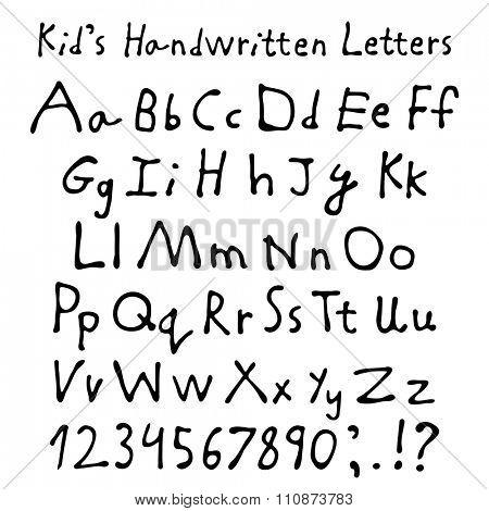 Kid's handwritten letters. Full alphabet and numbers. Children script font.