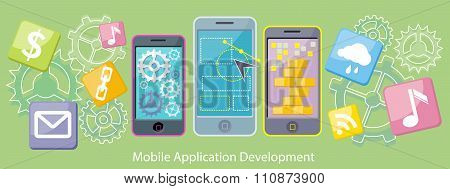 Mobile Application Development Flat Design
