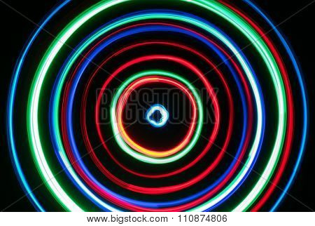Colorful Christmas LED lights circles blur.
