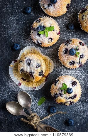 Blueberry Muffins With Powdered Sugar