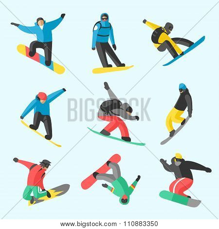 Snowboarder jump in different pose on white background