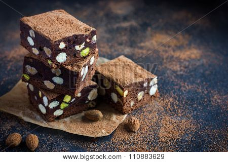 Panforte Nero Squares . Traditional Italian  Cake With Nuts And Dried Fruits