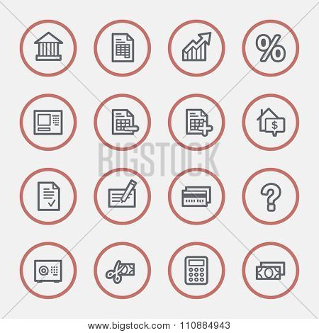 Finance and banking, credit card and cash, atm and rent, tax and mortgage, web vector stock icons