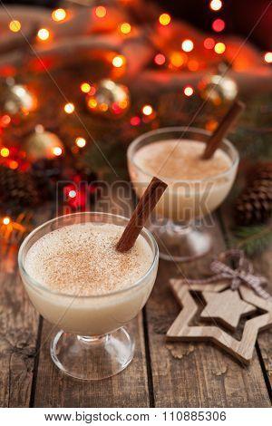 Eggnog traditional xmas homemade winter egg, vanilla non alcohol liqueur preparation recipe in two g