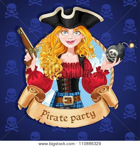 Beautiful Female Pirate With Bomb. Banner For Pirate Party