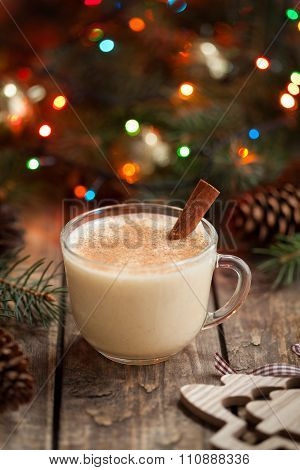 Eggnog traditional christmas holiday egg, vanilla, rum alcohol liqueur drink preparation recipe in t