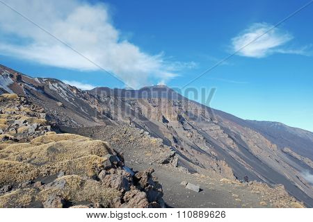 rock and volcanic ash of slope Montagnola Mount and active Sud-Est Crater of Etna Volcano, Sicily   poster