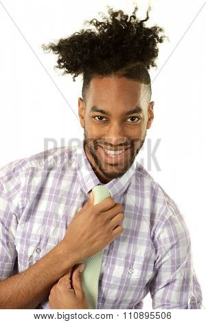 Black young businessman isolated on a white background