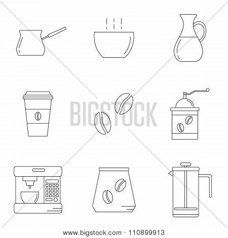 Set of different linear coffee icons.