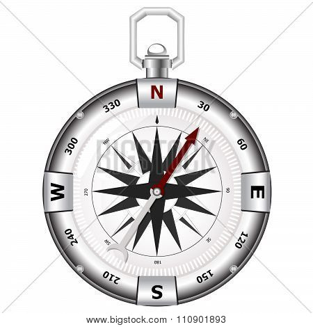 Isolated big silver compass on white background
