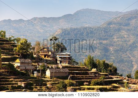 Typical Beautiful Village In Nepal
