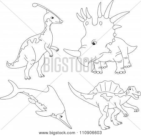 Set Of Palaeosaurus, Styracosaurus, Spinosaurus And Ichthyosaur. Coloring Book For Kids