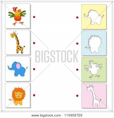Giraffe, Elephant, Parrot And Lion. Educational Game For Kids