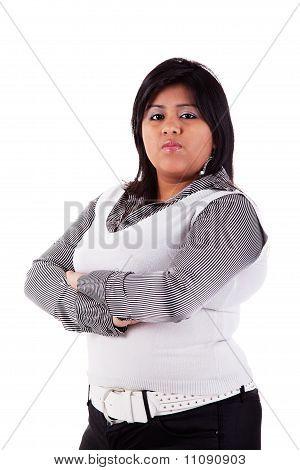 Portrait Of A Latin Big Girl. Isolated Over White, Studio Shot