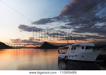 Kirk Bridge With Ship At Sunset, Croatia