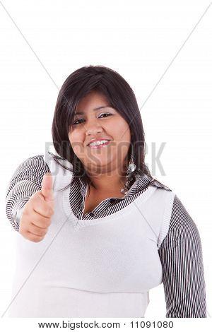 Happy Large  Latin Woman, With Thumb Up, Isolated On  White Studio Shot