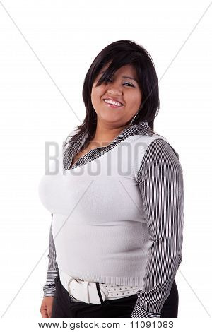 Happy Large  Latin Woman, Isolated On  White Studio Shot