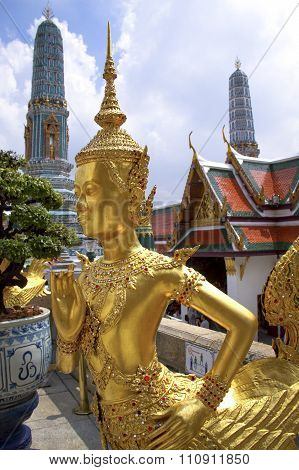Golden Kinnara statue in Bankok's Grand Palace