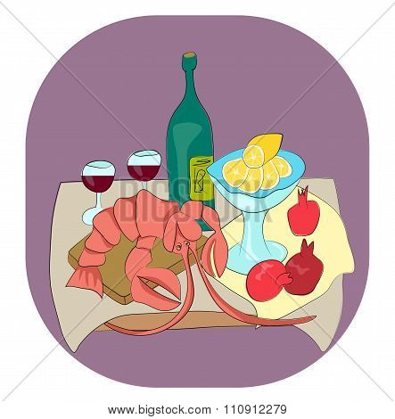 Lobster With Wine, Lemon And Pomegranates Still Life