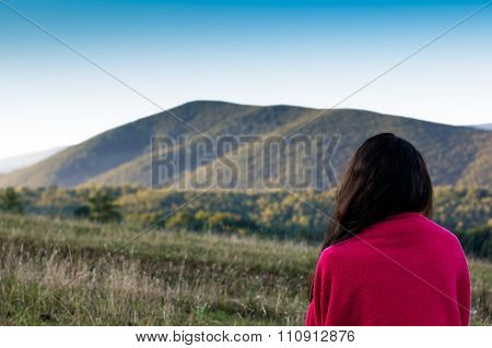 Girl Looking Afar On The Carpathians Mountains Background