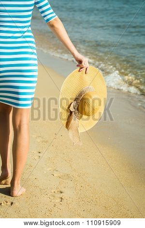 Happy Woman Enjoying Beach Relaxing Joyful In Summer By Tropical Blue Water. Beautiful Model Happy O