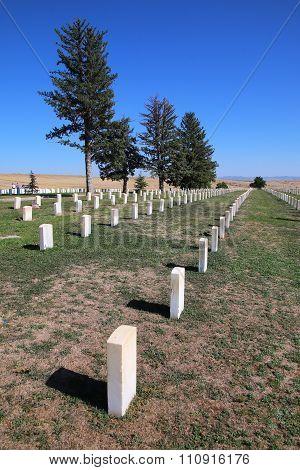 Custer National Cemetery At Little Bighorn Battlefield National Monument, Montana, Usa