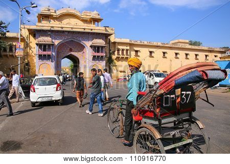 Jaipur, India - November 14: Unidentified Man Drives Pedicab Near City Palace On November 14, 2014 I