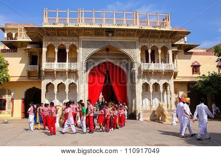 Jaipur, India - November 15: Unidentified People Stand Near Rajendra Pol In City Palace On April 15,