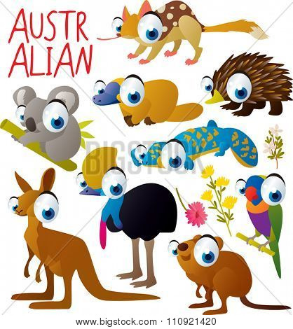 big vector set of funny comic cartoon animals: australian animal: quoll, platypus or duckbill, echidna or anteater, koala, lizard, cassowary, parrot, kangaroo, quokka