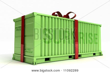 Big Present On A Cargo Container