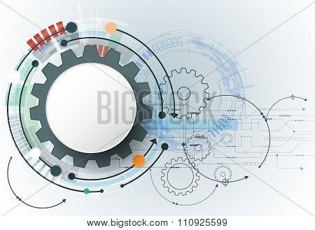 Vector futuristic technology 3d white paper gear wheel on circuit board