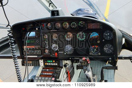 EPERON, REUNION ISLAND, FRANCE - NOVEMBER 7, 2015: Flight instruments on an instrument panel in The Eurocopter B3. Helicopter for 6 passengers, max. weight: 2540 kg, max. speed: 278km/h
