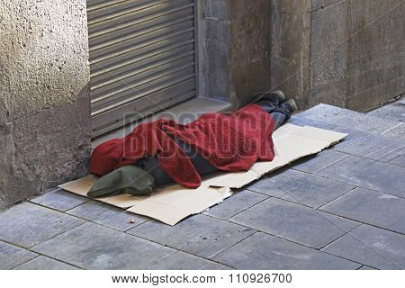 Homeless man sleeps rough