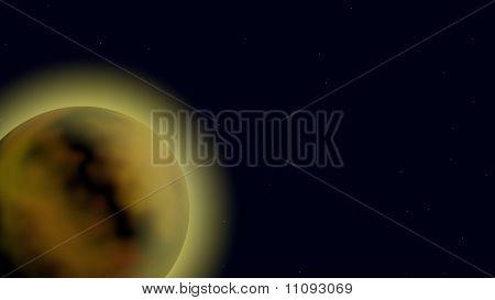 Glowing Planet In Orbit