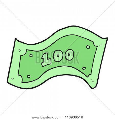 freehand drawn cartoon 100 dollar bill