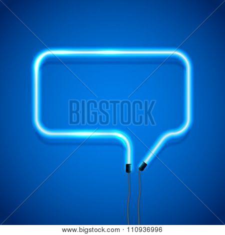 Blue Neon Speech Bubble