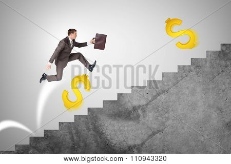 Man running up stairs with gold dollar signs
