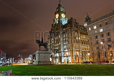 Liverpool's Historic Waterfront Buildings At Night
