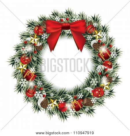 Vector illustration of a decorative Christmas wreath with red silky bow isolated on white