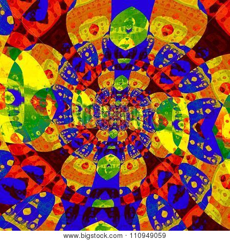 Abstract colorful spiral fractal. Odd modern art. Mad color image. Deep space concept.